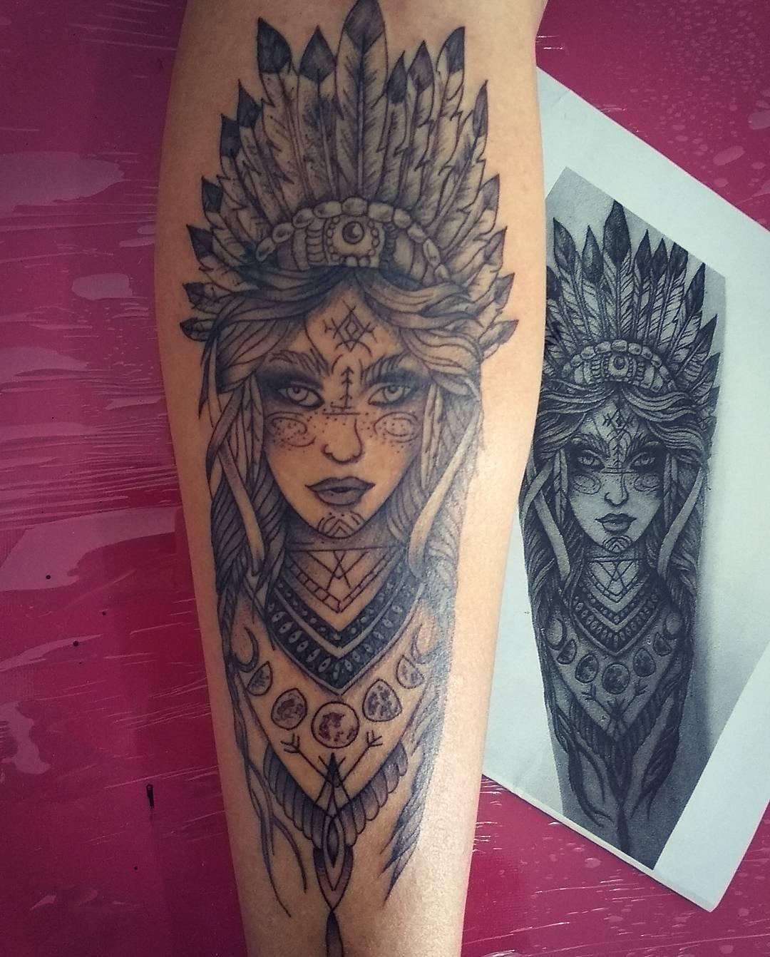 师先生小臂印第安美女纹身图案图片