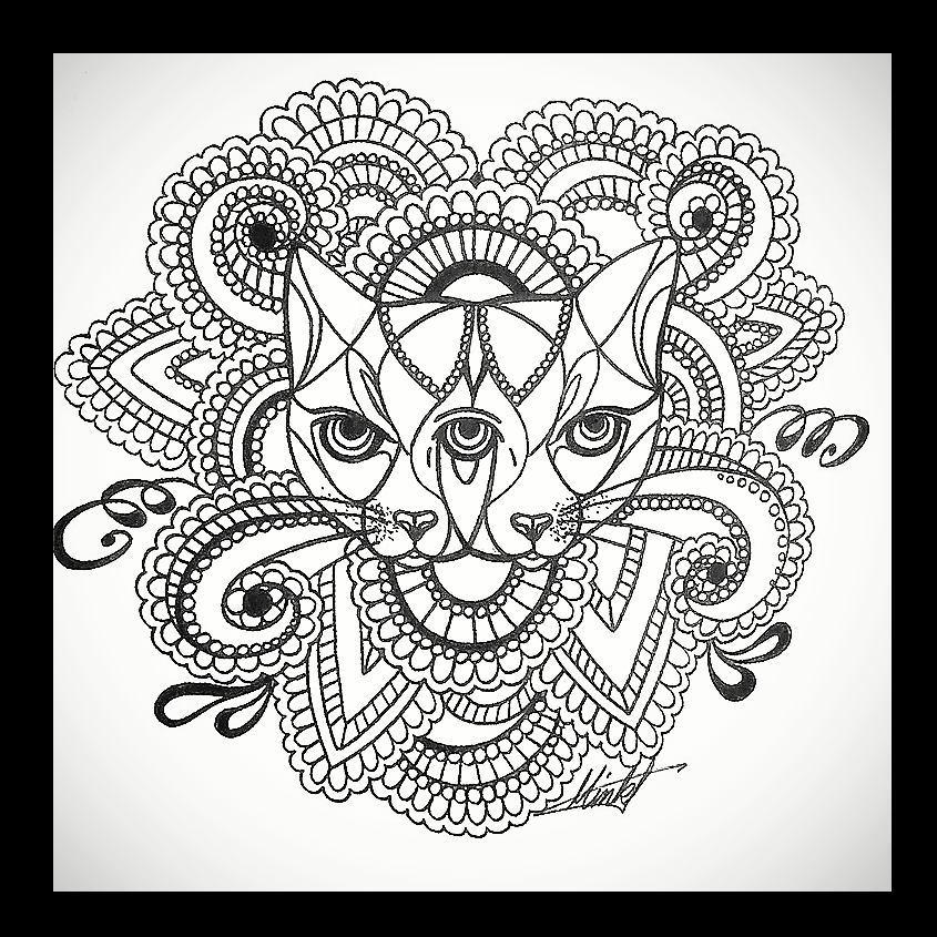 金先生斯芬克斯猫梵花纹身手稿