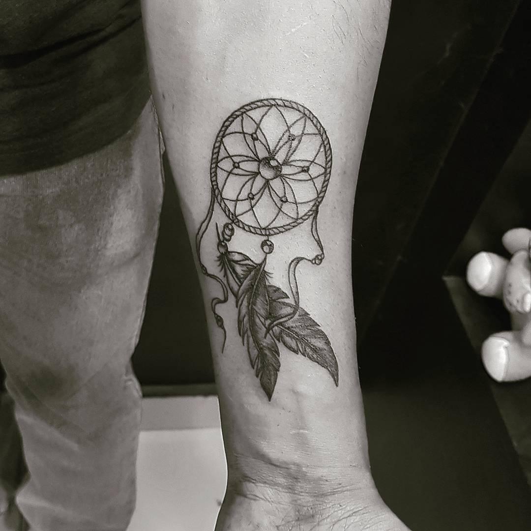 秦先生小臂捕梦网纹身图案图片